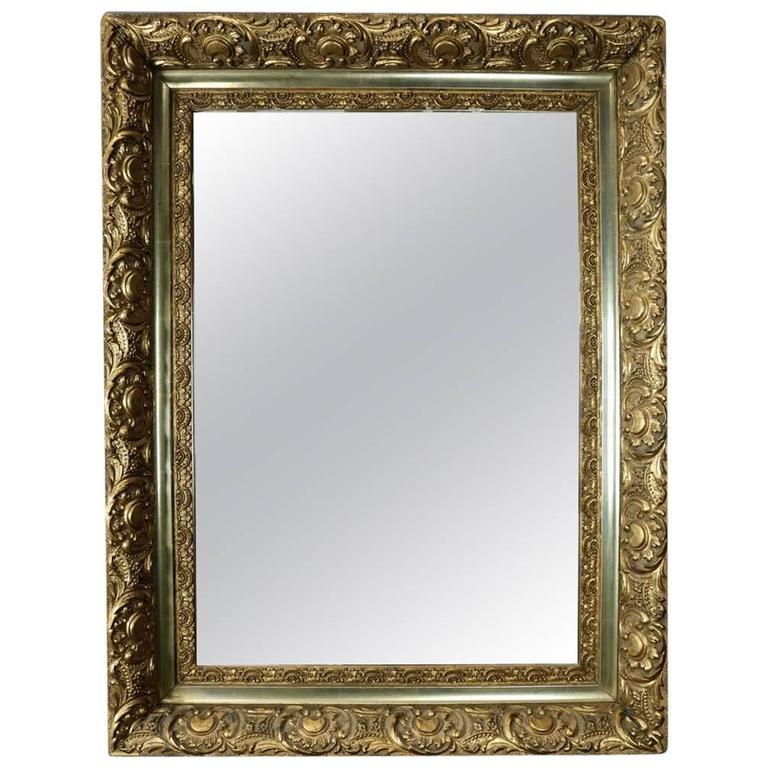 Antique french style first finish gold giltwood framed for Antique looking wall mirrors