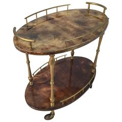 Diminutive Aldo Tura Goatskin Drinks Cart or Side Table