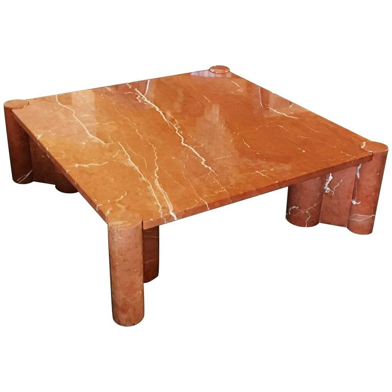"""Italian Marble Coffee Or Cocktail Table For Sale At 1stdibs: Polished Rosso Marble """"Jumbo"""" Cocktail Table By Gae"""