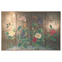 Four-Panel Chinoiserie Hand-Painted Wallpaper Screen