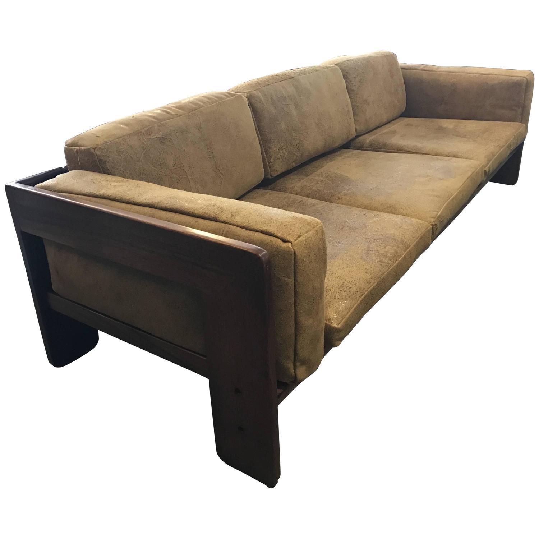 Tobia Scarpa Knoll Bastiano Rosewood Sofa Vintage Leather Cushions