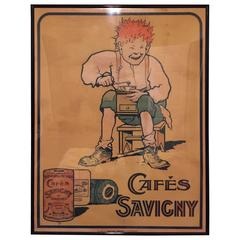 Cafés Savigny Chromolithograph Advertising Poster