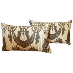 """Pair of Vintage Fortuny """"Lambale"""" Pillows"""