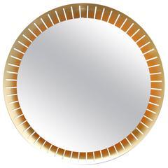 Round Brass Back Lit Mirror