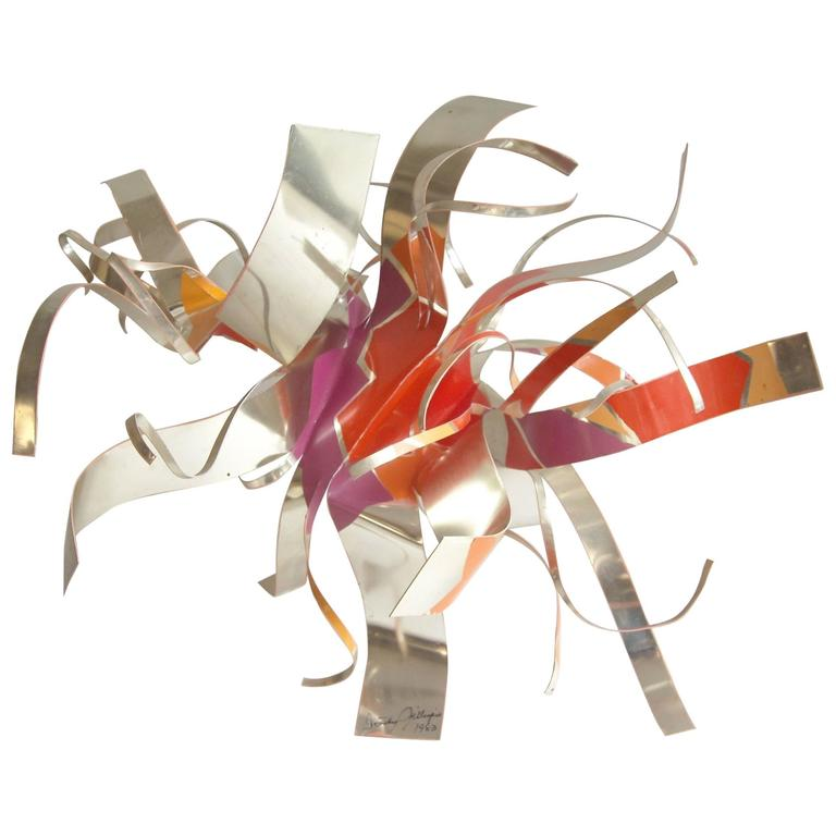 Dorothy Gillespie Aluminum Abstract Sculpture, Signed, Dated, Pop 1