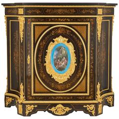 Ormolu and Porcelain Victorian Period Marquetry Side Cabinet