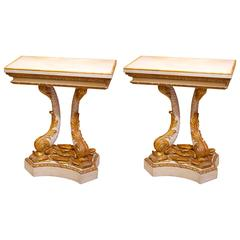Pair of Lacquered Gilded Dolphin Consoles Tables White Marble Top, 19th Century