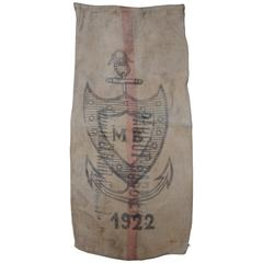 French Nautical Woven Jute Shipping Sack with Printed Shield and Anchor Logo