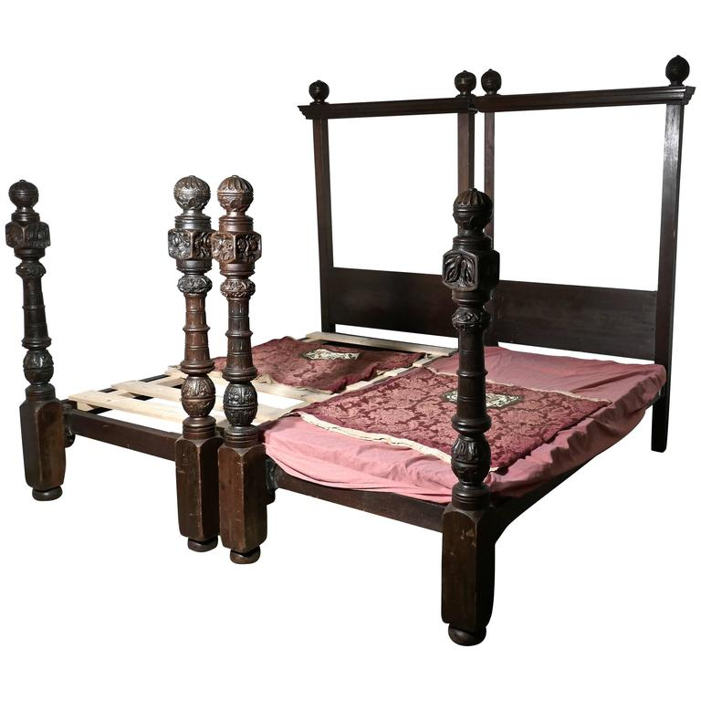pair of gothic carved oak four poster singledouble beds 16th century carving 1