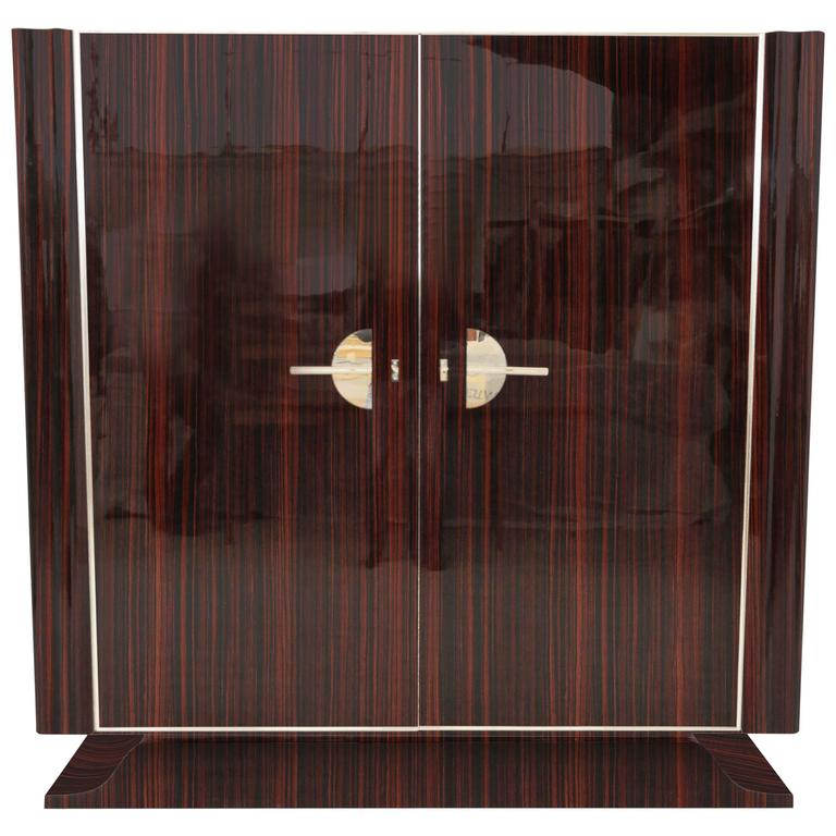 Art Deco Style Macassar Cabinet For Sale