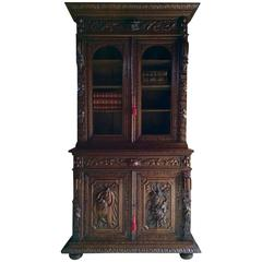 Antique French Cabinet Cupboard Dresser Bookcase Oak Carved Gothic Victorian