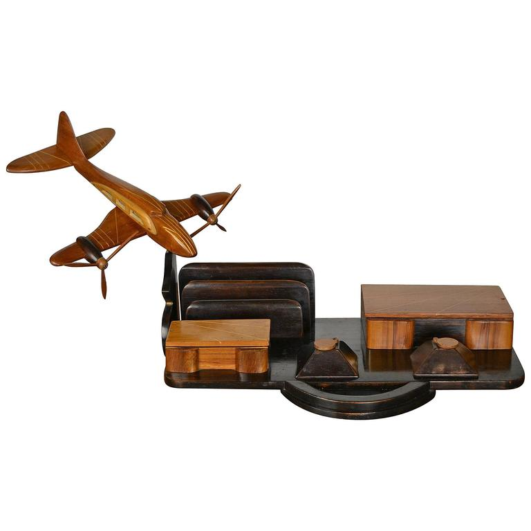 Art Deco Wooden Aeroplane Desk Set
