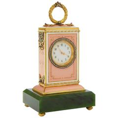 Russian Fabergé Style Nephrite and Enamel Table Clock