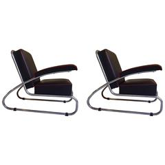 Pair of Gottwald Bauhaus Chrome Black Leather Lounge Chairs Red