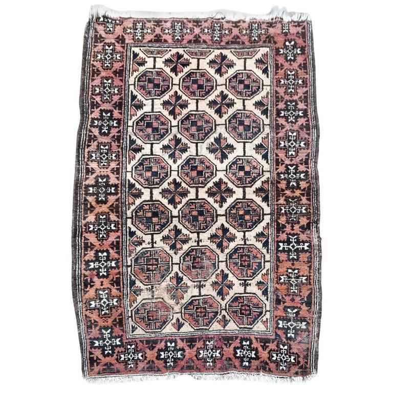Antique Afghan Rugs: Antique Afghan Rug Carpet 100% Wool Handwoven At 1stdibs