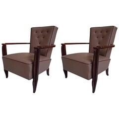 Pair of 1940 Leather Lounge Chairs