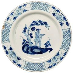 Large Mid-18th Century Chinoiserie Decorated English Delft Charger