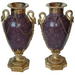 Pair of French Gilt Bronze Mounted Egyptian Porphyry Vases, circa 1790-1800