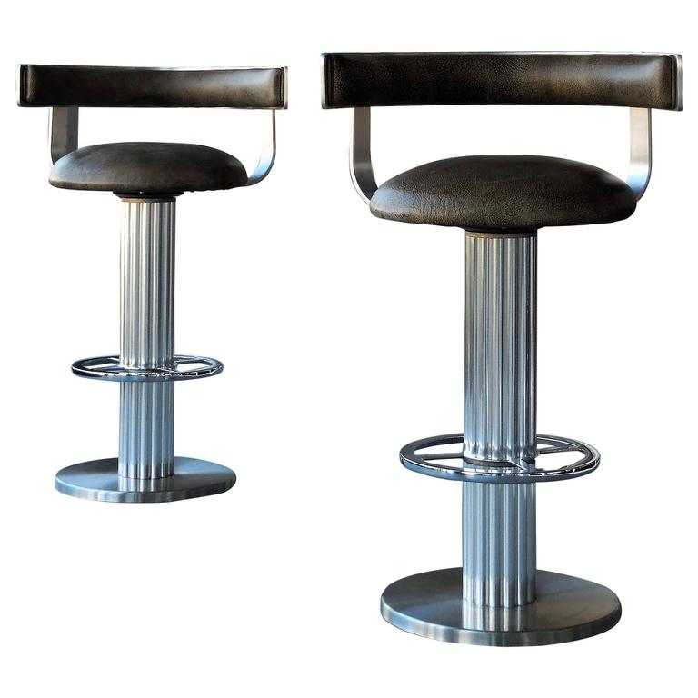 Design For Leisure Swivel Leather Bar Stools Pair At 1stdibs