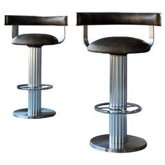 Design For Leisure Swivel Leather Bar Stools, Pair