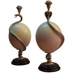 Pair of Silver Mounted Ostrich Egg Candleholders