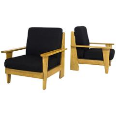 Pair of French Oak Armchairs, circa 1960, France