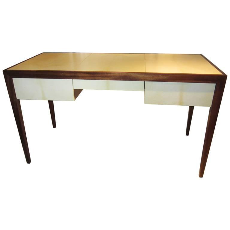 Custom parchment and Mahogany Writing Desk