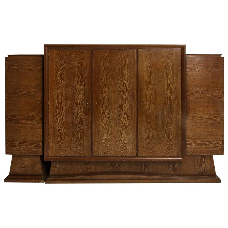 Cerused Oak Sideboard Library Bookshelf Deco France, 1940, 1930 Mid-Century For Sale