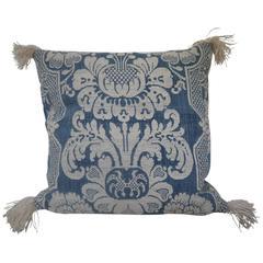 18th Century French Antique Toile d'Abbeville Woven Cotton Linen Pillow