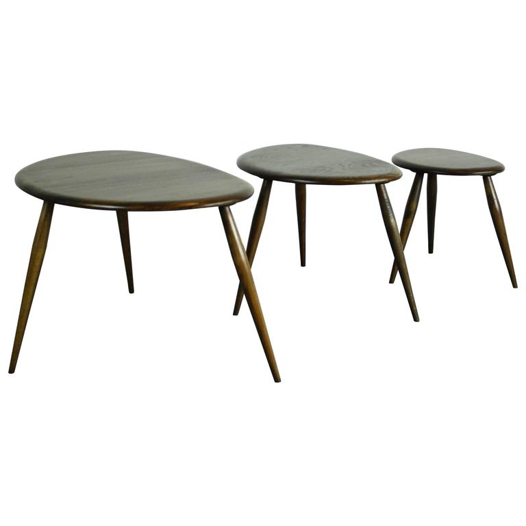 """Vintage Ercol Coffee Tables For Sale: Vintage 1960s Ercol Nest Of Elm """"Pebble"""" Coffee Tables For"""