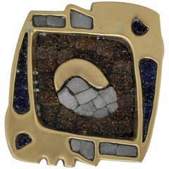 Salvador Teran Brass and Glass Mosaic Dish