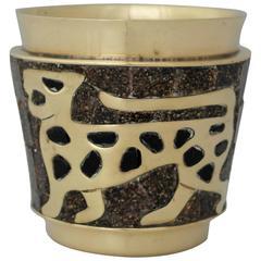 Salvador Teran Brass and Glass Mosaic Bar Cup