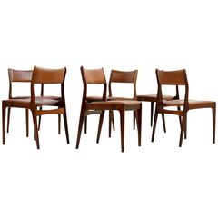 Set of Six Johannes Andersen Rosewood Dining Chairs Cognac Leather Uldum DK