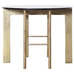 Side Table in Brass with Smoked Glass Top