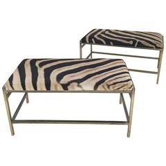 McCobb Style Brass and Zebra Hide Benches or Ottomans