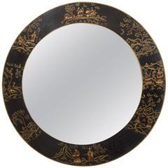 Round Decorative Hand-Painted Chinoiserie Mirror