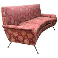 Curved Italian Sofa Attributed to Gio Ponti, circa 1950