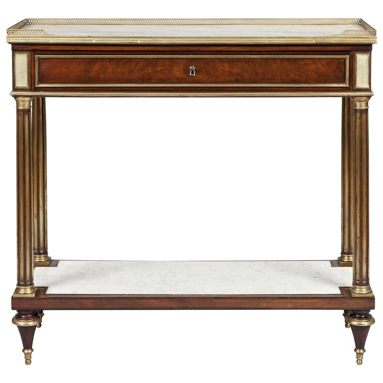 French 19th Century Mahogany and Gilt Console Table For Sale