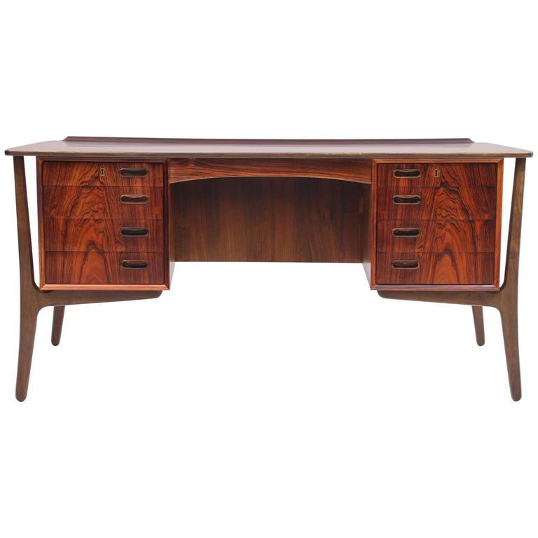 Rosewood Desk by Svend Aage Madsen for HP Hansen, Scandinavian Modern 1