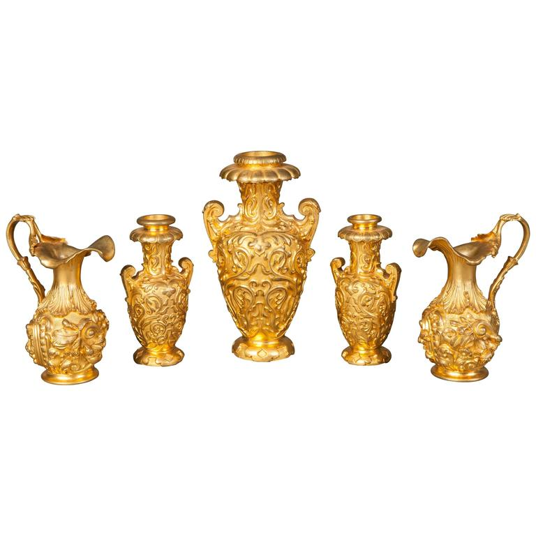English 19th Century Gilt Bronze Collection of Decorative Urns For Sale