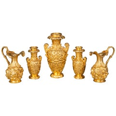 English 19th Century Gilt Bronze Collection of Decorative Urns