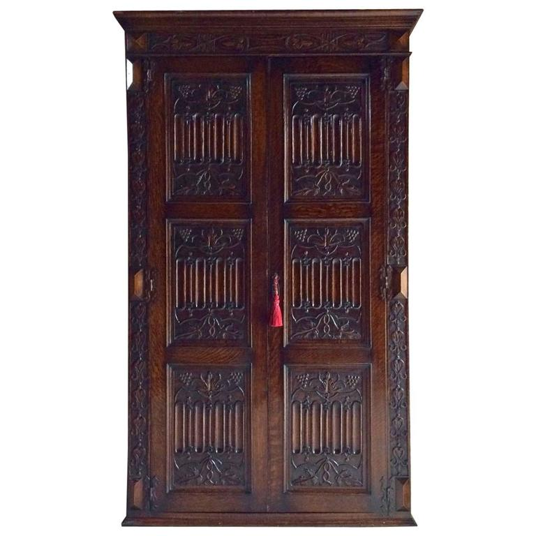Antique Wardrobe Armoire Solid Oak Gothic Heavily Carved Edwardian For