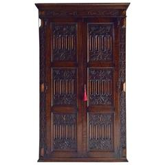 Antique Wardrobe Armoire Solid Oak Gothic Heavily Carved Edwardian