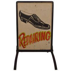 Depression Era Sidewalk Shoe Repair Sign