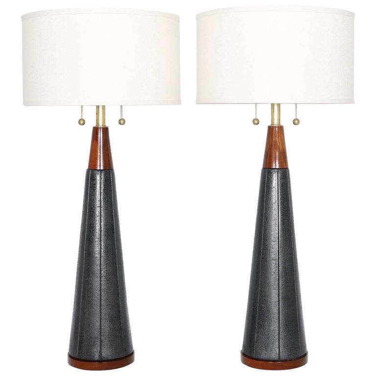 Pair Of Mid Century Modern Black Ceramic And Walnut Lamps By
