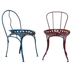 Pair of Folk Art Chairs with Tractor Seats, France, 1950s