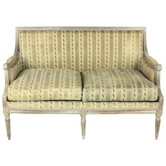 18th Century Louis XVI Blue or Grey Carved and Painted Settee