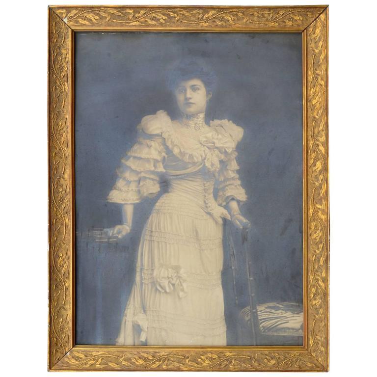 Large Glamorous Female Art Nouveau Silver Print Photo Portrait in Gilded Frame