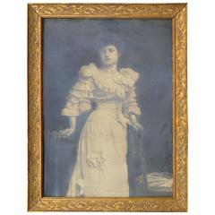 Large Glamorous Female Art Nouveau Silver Print Photo Portrait in Gilded Frame