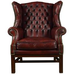 Leather Upholstered Wingback Armchair